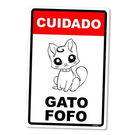 Placa Decorativa Gato Fofo