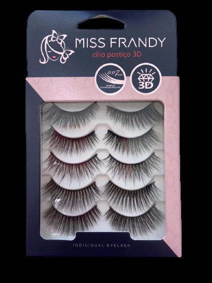 Cartela de Cílios Postiços 3D C18-0372 5 Pares - Miss Frandy