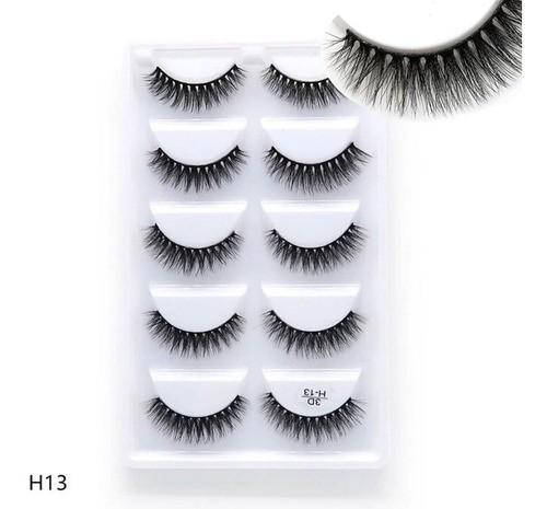 Cílios 3D  caixa com 5 pares modelo 3D-H13 - Cílios Postiços