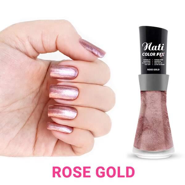 Esmalte Cintilante Color Fix Rose Gold - Nati