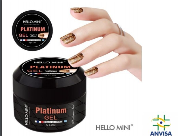 Gel com Glitter  Platinum 001 - Hello Mini