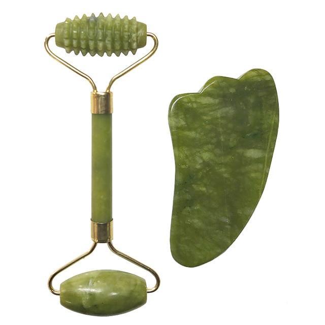 Jade Roller Massageador 2 unidades Facial Jade C/ Estojo Luxo