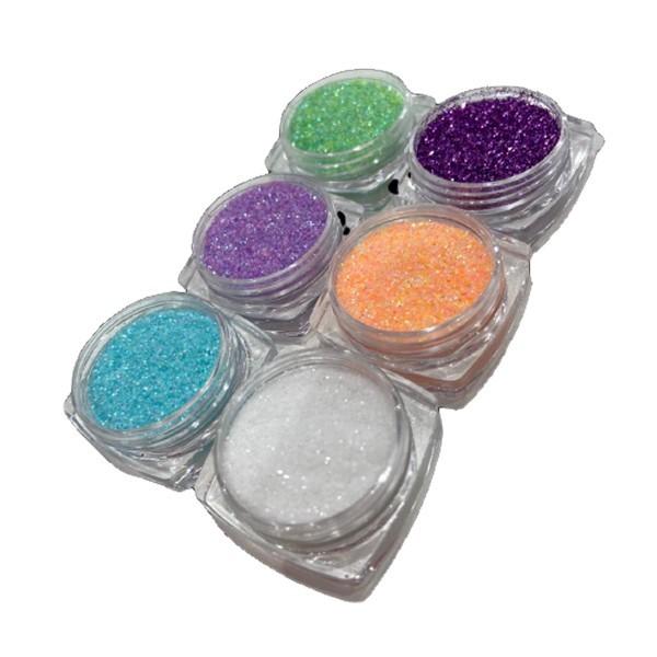 Kit 6 Glitters para Decoração de unha Modelo 02