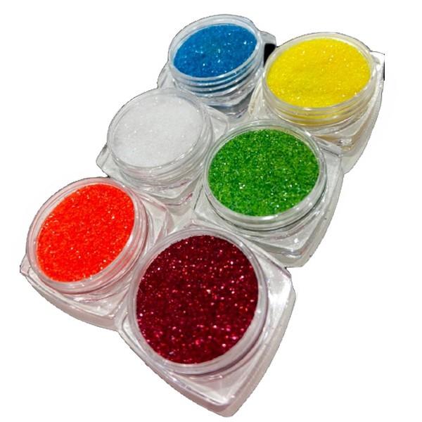 Kit 6 Glitters para Decoração de unha Modelo 04