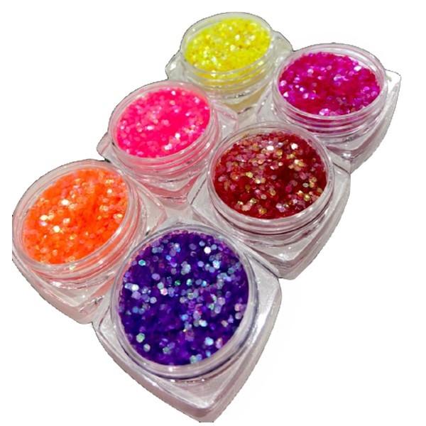 Kit 6 Glitters para Decoração de unha Modelo 05