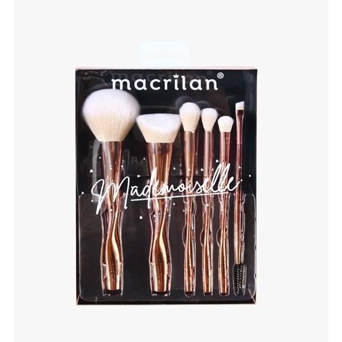 Kit com 6 pincéis para maquiagem Mademoiselle ED004 - Macrilan