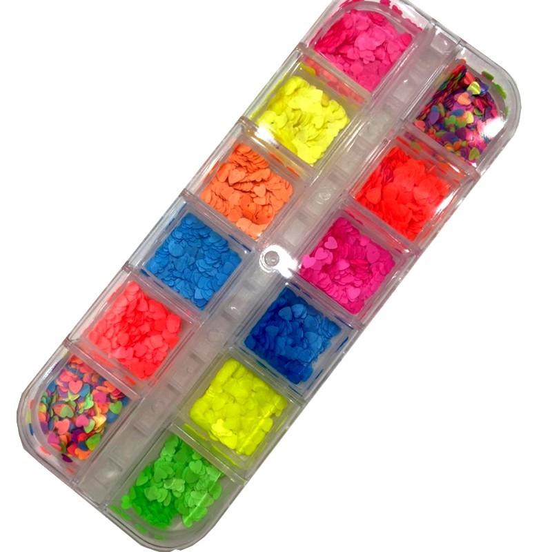 Kit Glitter de Coração Neon para Encapsular