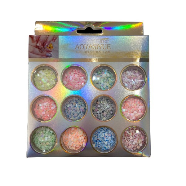Kit Glitter Hexágono Marmorizado 03 para Encapsular