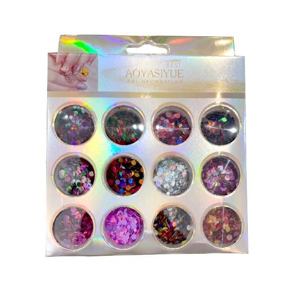 Kit Glitter Mix Bolinhas Holográficas 05 para Encapsular e Decorar Unhas