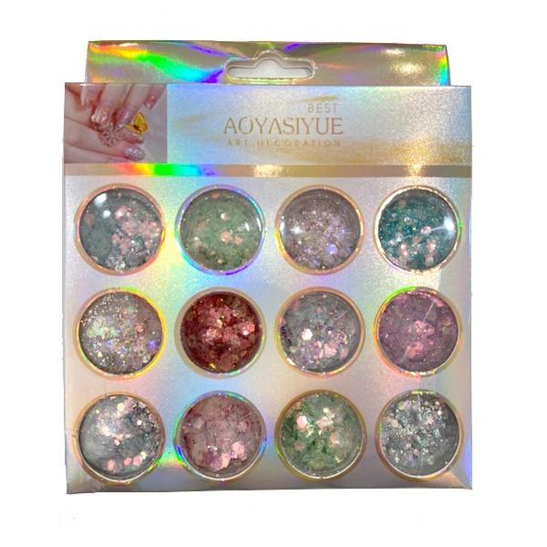 Kit Glitter Mix Glitter Holográficos 09 para Encapsular e Decorar Unhas