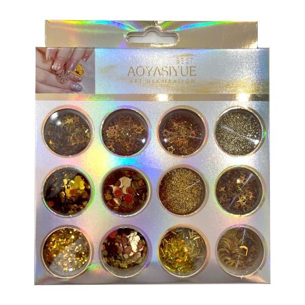 Kit Glitter Mix Variados Dourados 07 para Encapsular e Decorar Unhas
