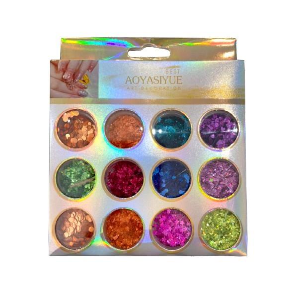 Kit Glitter Mix Variados Holográficos 06 para Encapsular e Decorar Unhas