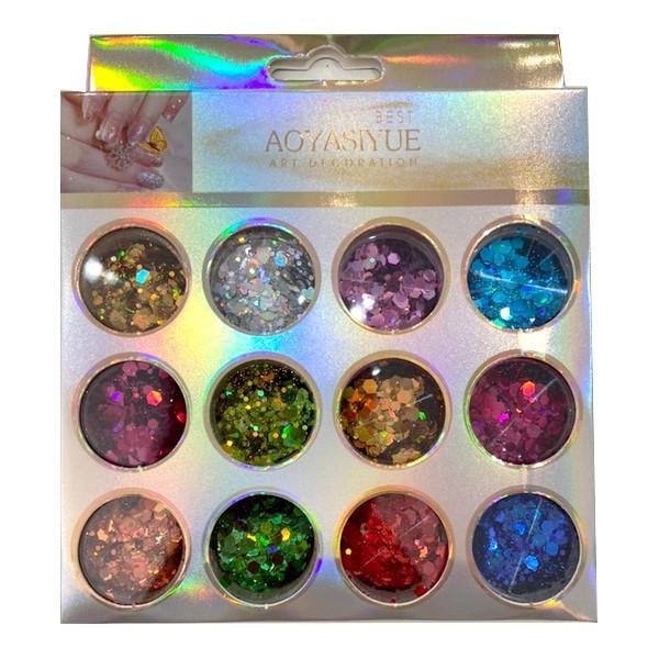 Kit Glitter Mix Variados Holográficos 08 para Encapsular e Decorar Unhas