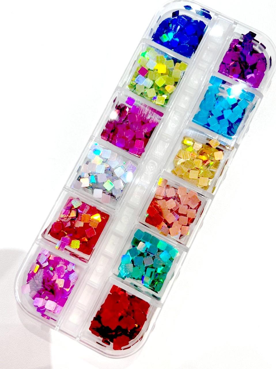 Kit Glitter Quadradinho Holográfico para Encapsular