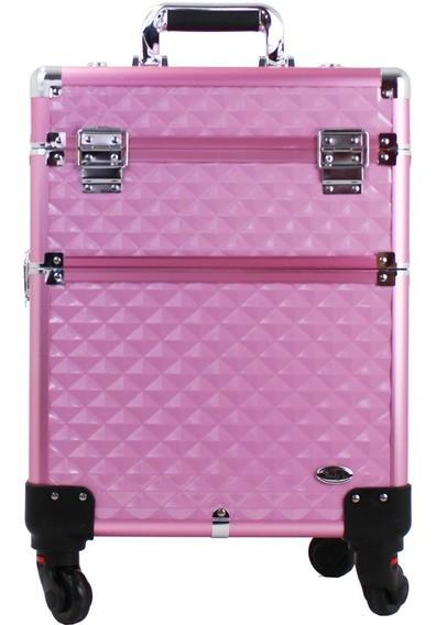 Maleta de Maquiagem Profissional com Rodinhas 360° Rosa FS-W 1200MC-1 - Rubys