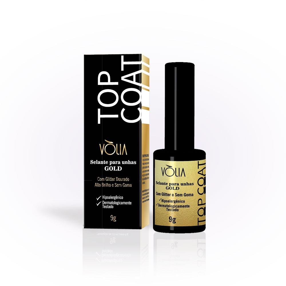 Top Coat Selante Finalizador Glitter Gold Uv 9g - Vólia