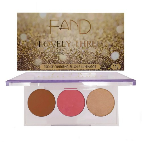 Trio de Contorno, Blush e Iluminador  Lovely Three - Fand