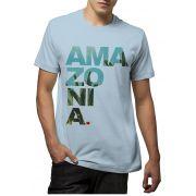 Camiseta Amazônia Ama zo ni a - Azul Claro
