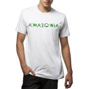 Camiseta Amazônia Escrito Folhas - Branco