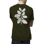 Camiseta Amazônia Folhas Riscadas - Verde Musgo