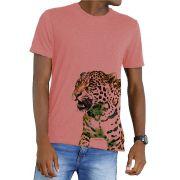 Camiseta Amazônia Garrafa Pet Onça Barra - Salmão