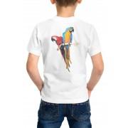 Camiseta Amazônia Infantil Araras Vermelha e Canindé - Branco