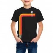 Camiseta Amazônia Infantil Coqueiro Degradê - Preto