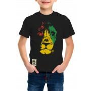 Camiseta Amazônia Infantil Leão Rasta - Preto