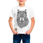 Camiseta Amazônia Infantil Lobo - Branco