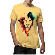 Camiseta Amazônia Leão Aquarela - Amarelo