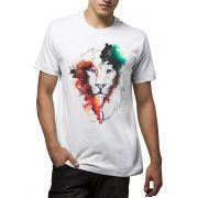 Camiseta Amazônia Leão Aquarela - Branco