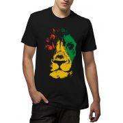 Camiseta Amazônia Leão Rasta Frente - Preto