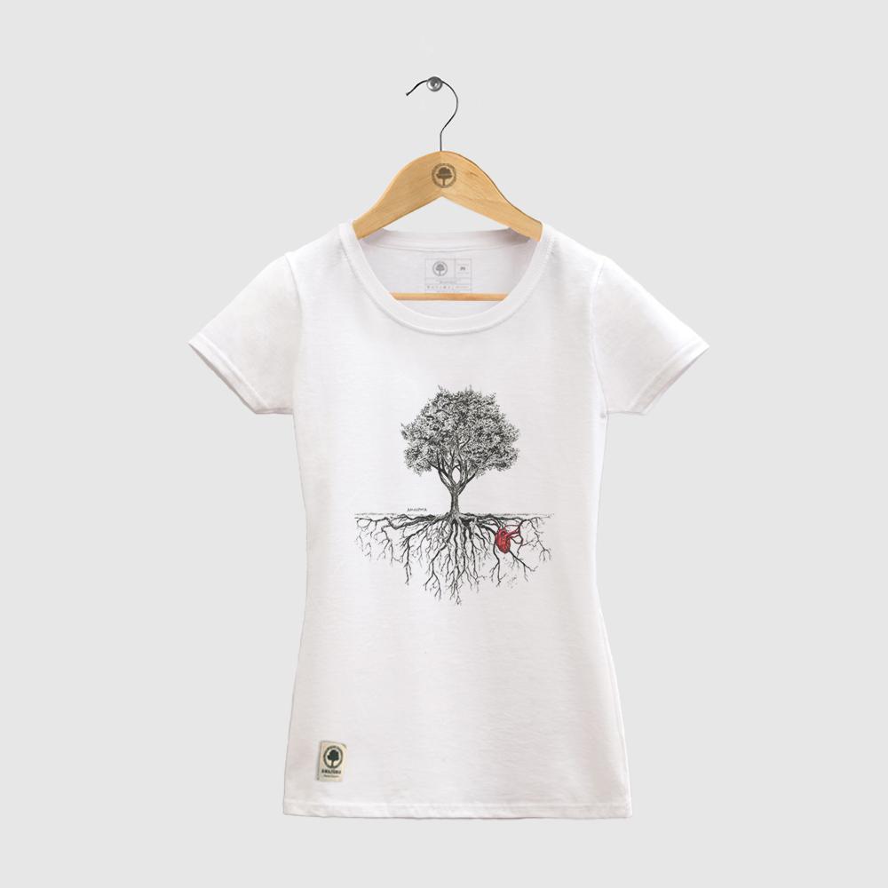 Baby Look Amazônia Árvore Coração da Natureza - Branco