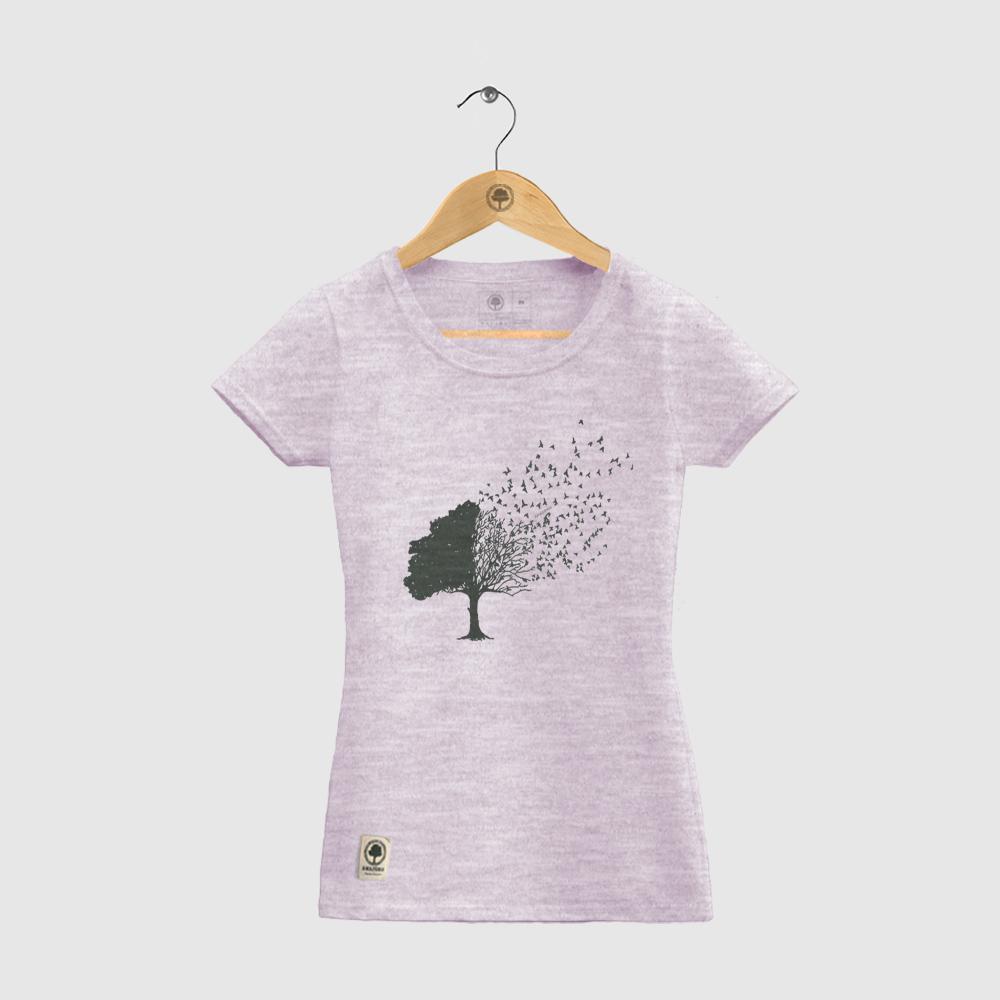Baby Look Amazônia Árvore Pássaros - Rosa Mescla