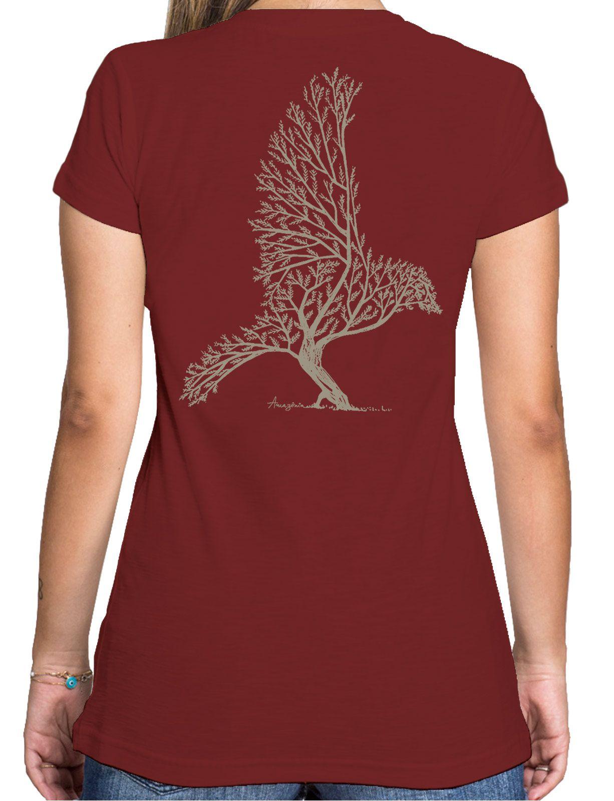 Baby Look Amazônia Bird Tree - Vinho