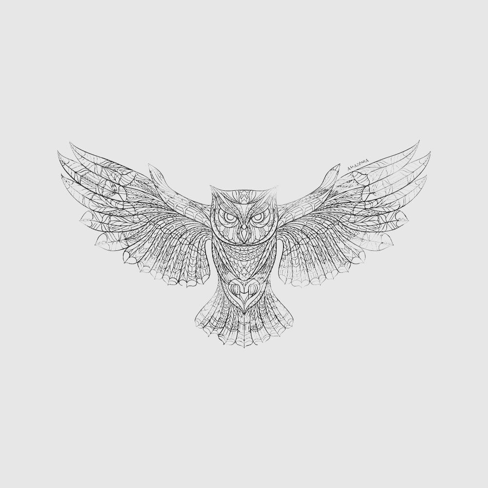 Baby Look Amazônia Owl Draw - Preto