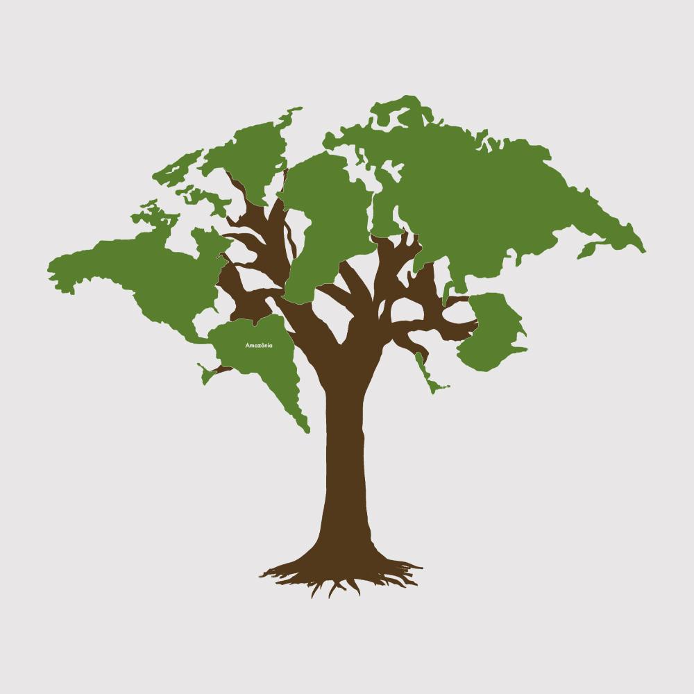 Baby Look Amazônia World Tree - Branco