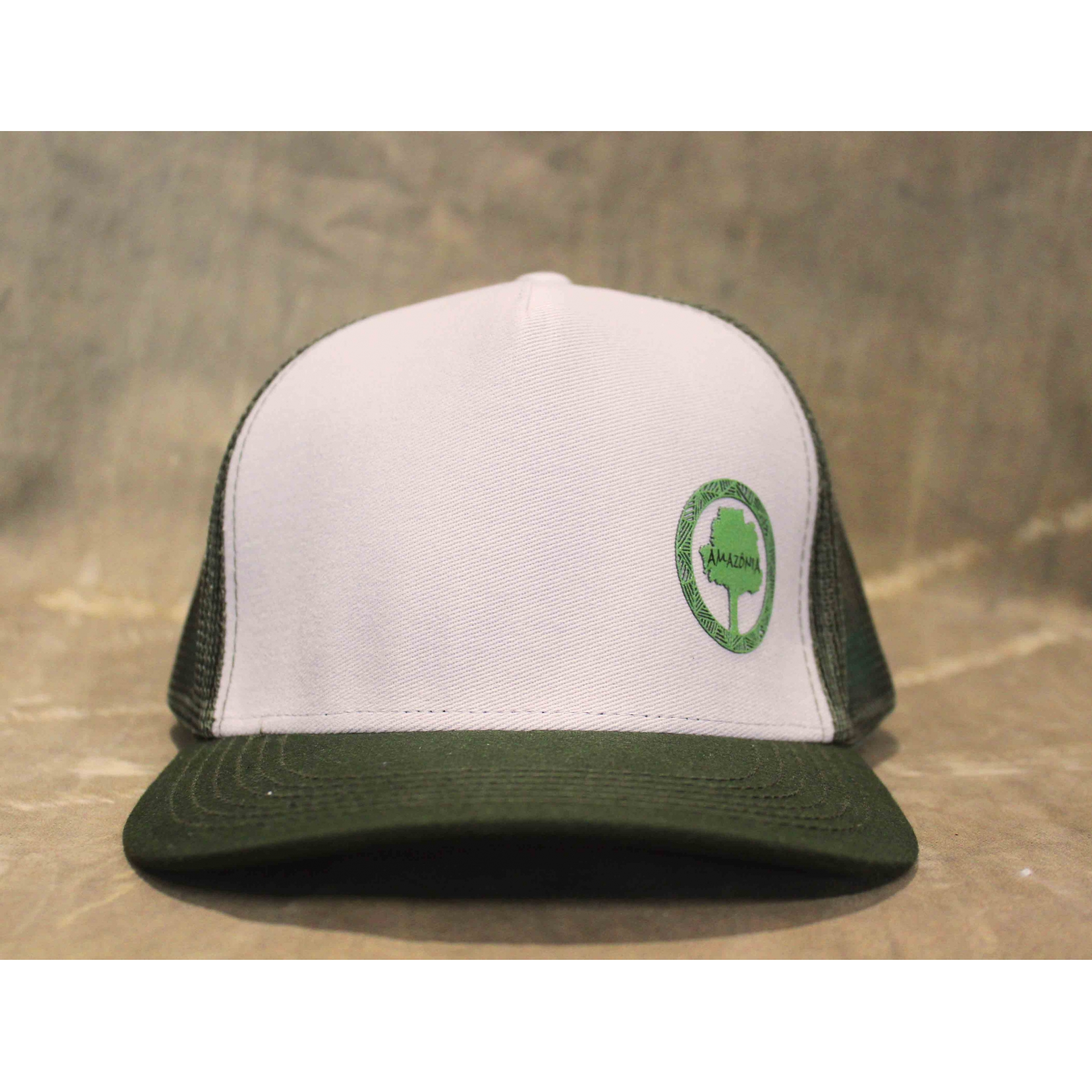 Boné Amazônia 0008 - TRUCKER C/ TELA MUSGO - CINZA CLARO - Verde