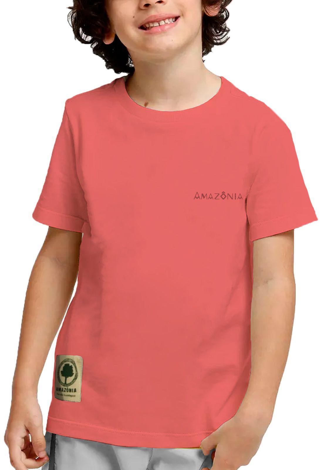 Camiseta Amazônia Adolescente Colagem Logo - Vermelho