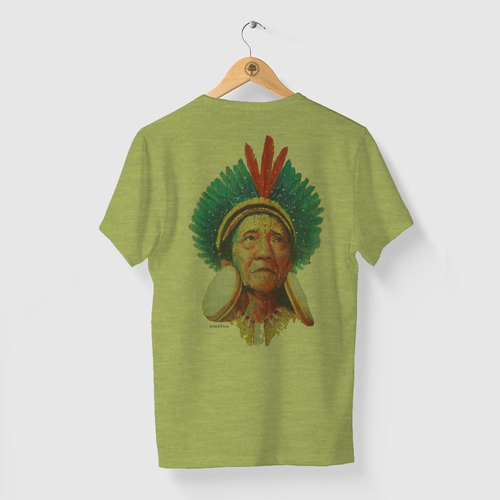 Camiseta Amazônia Anciã Indígena - Mescla Amarelo