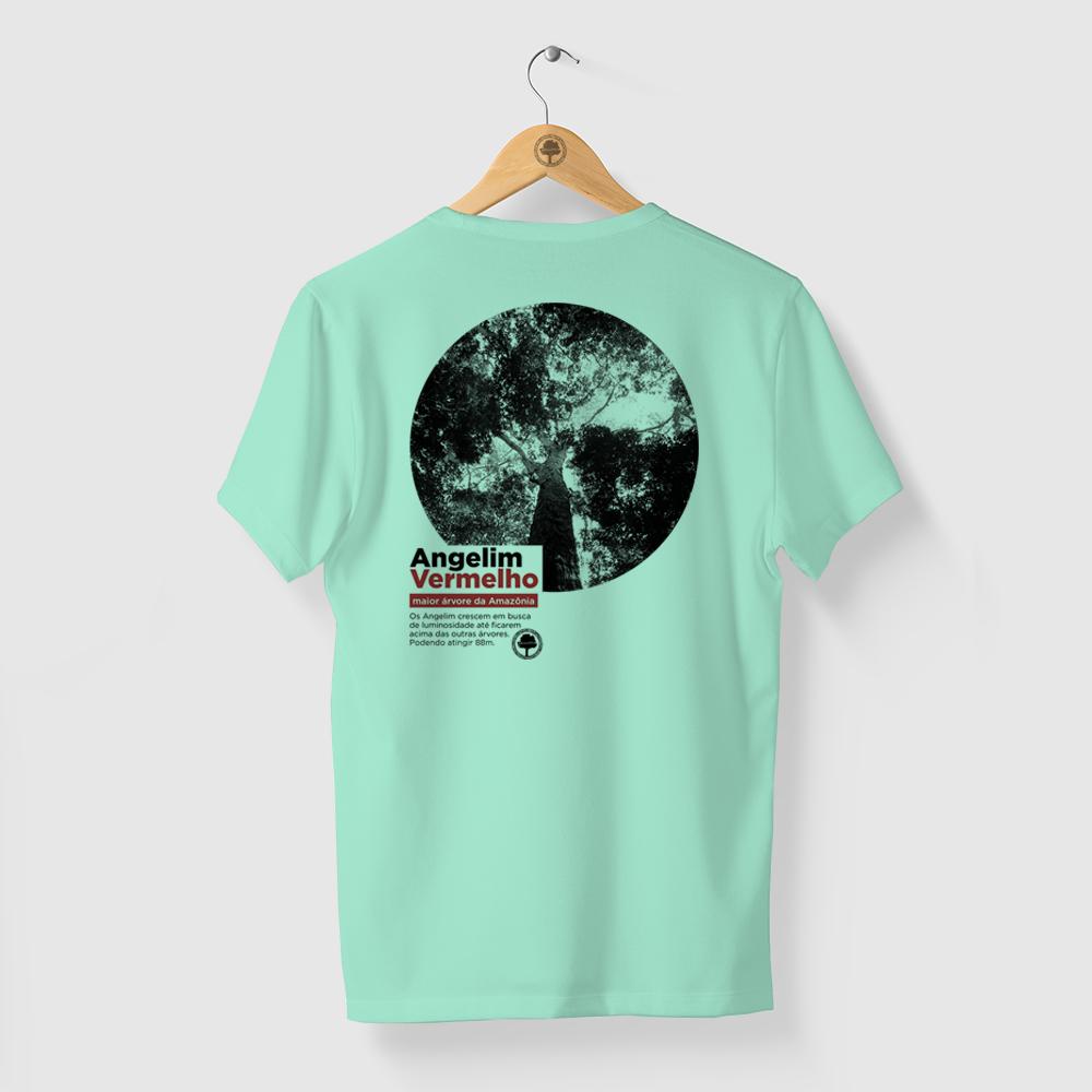 Camiseta Amazônia Angelim Vermelho - Verde Claro