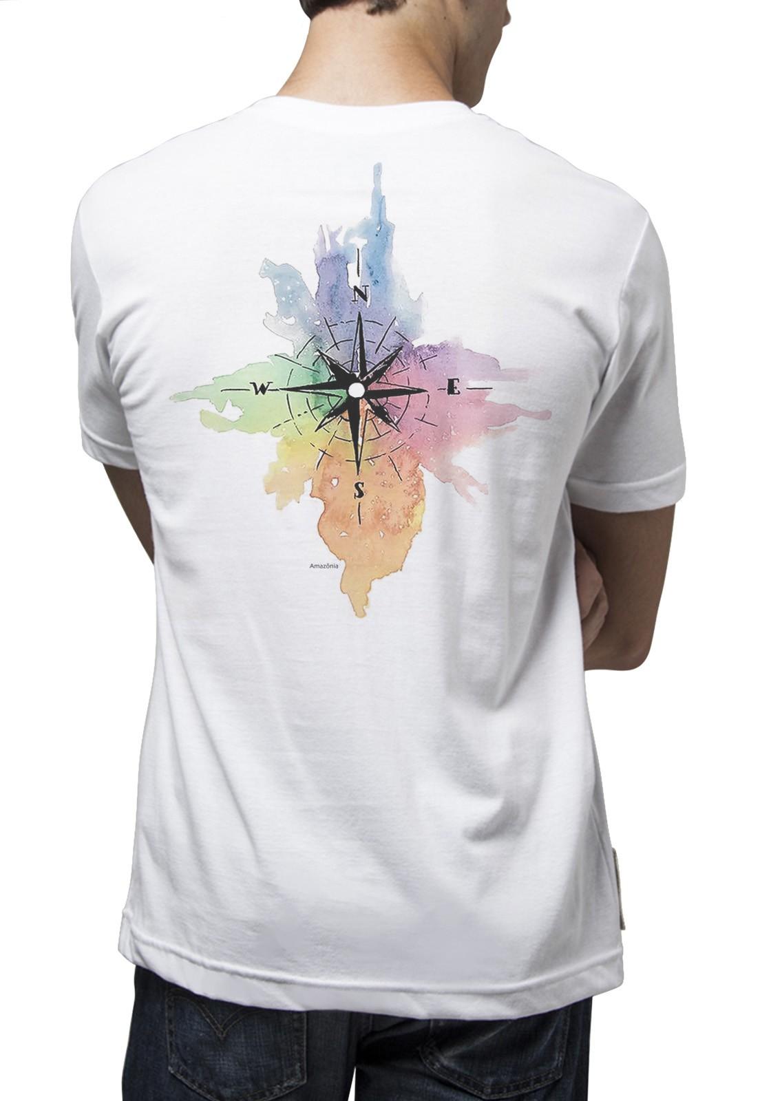 Camiseta Amazônia Aquarela Bússola - Branco