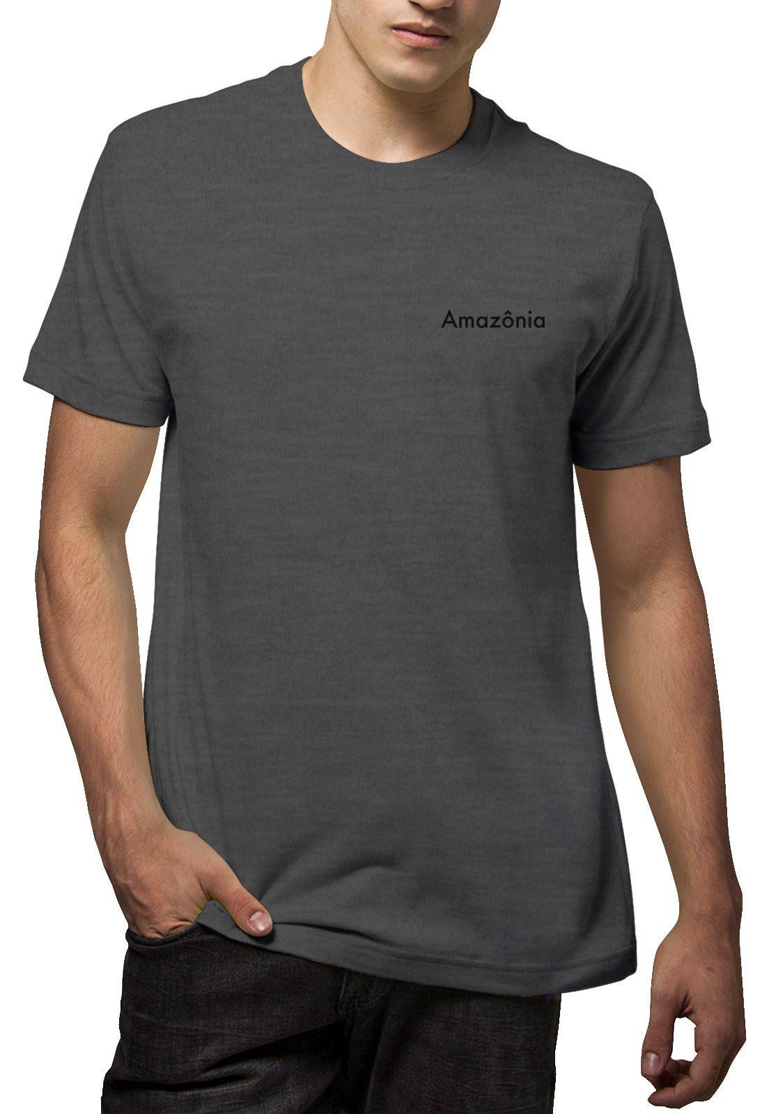 Camiseta Amazônia Aquarela Folha - Mescla