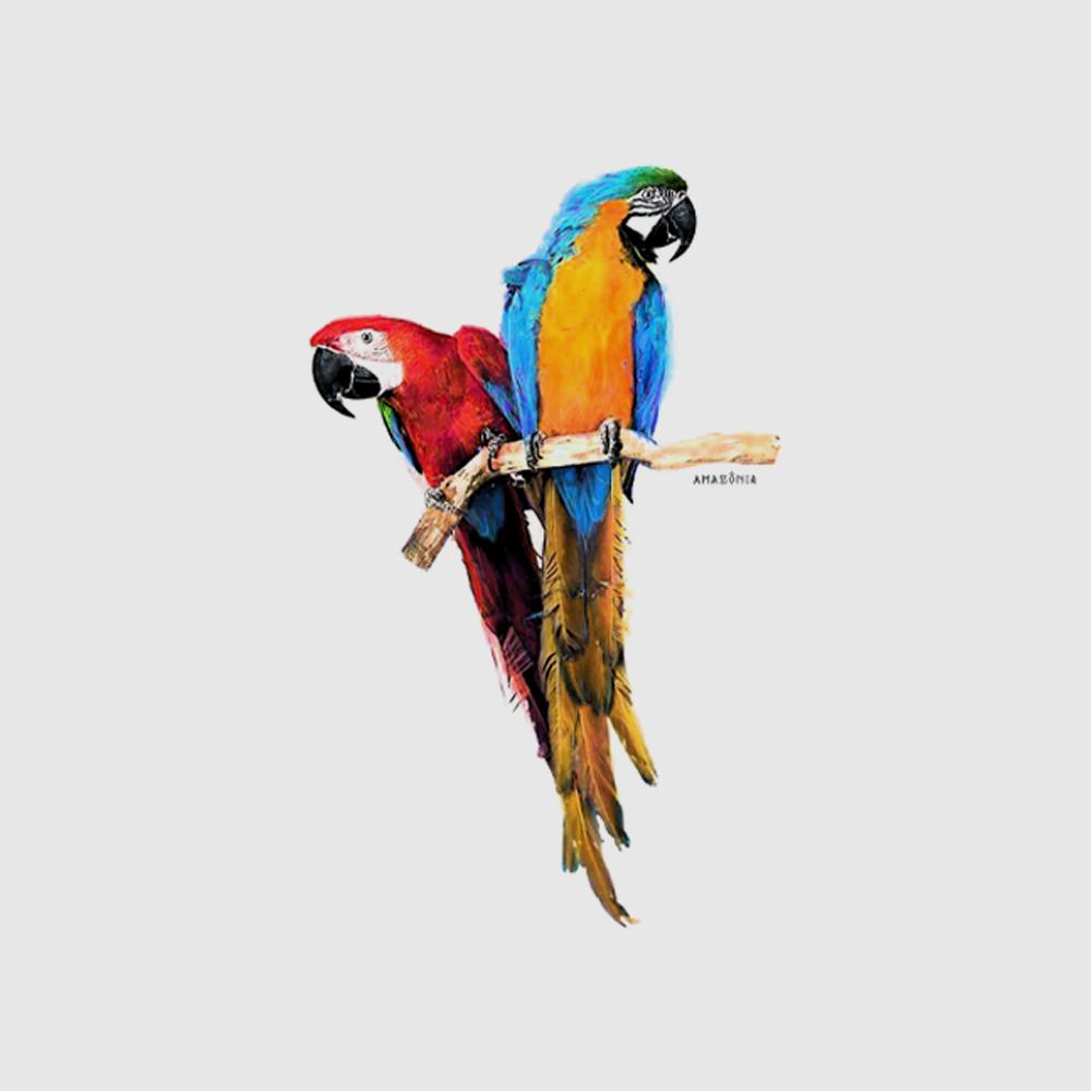 Camiseta Amazônia Araras Vermelha e Canindé - Branco