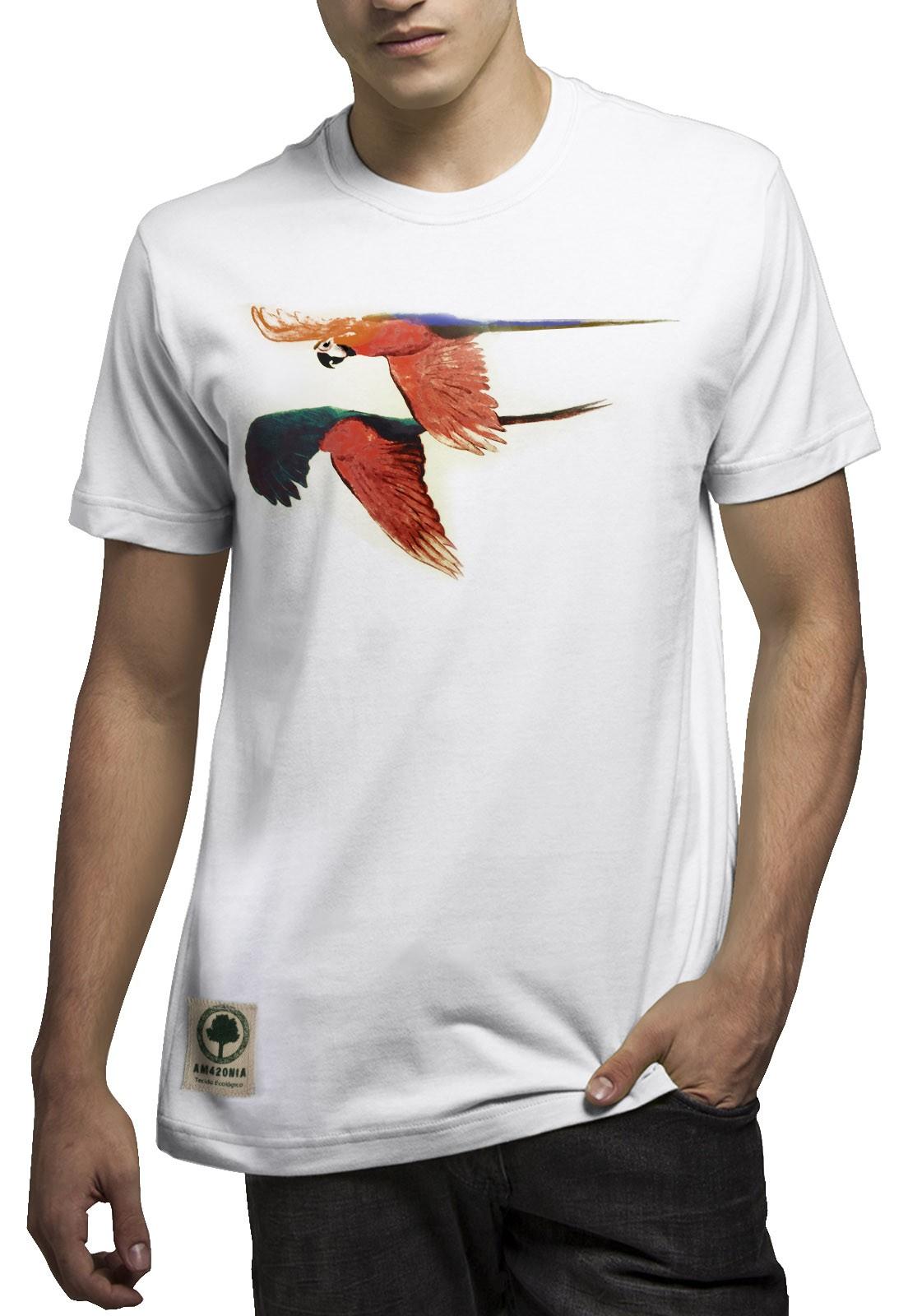 Camiseta Amazônia Araras Voando - Branco