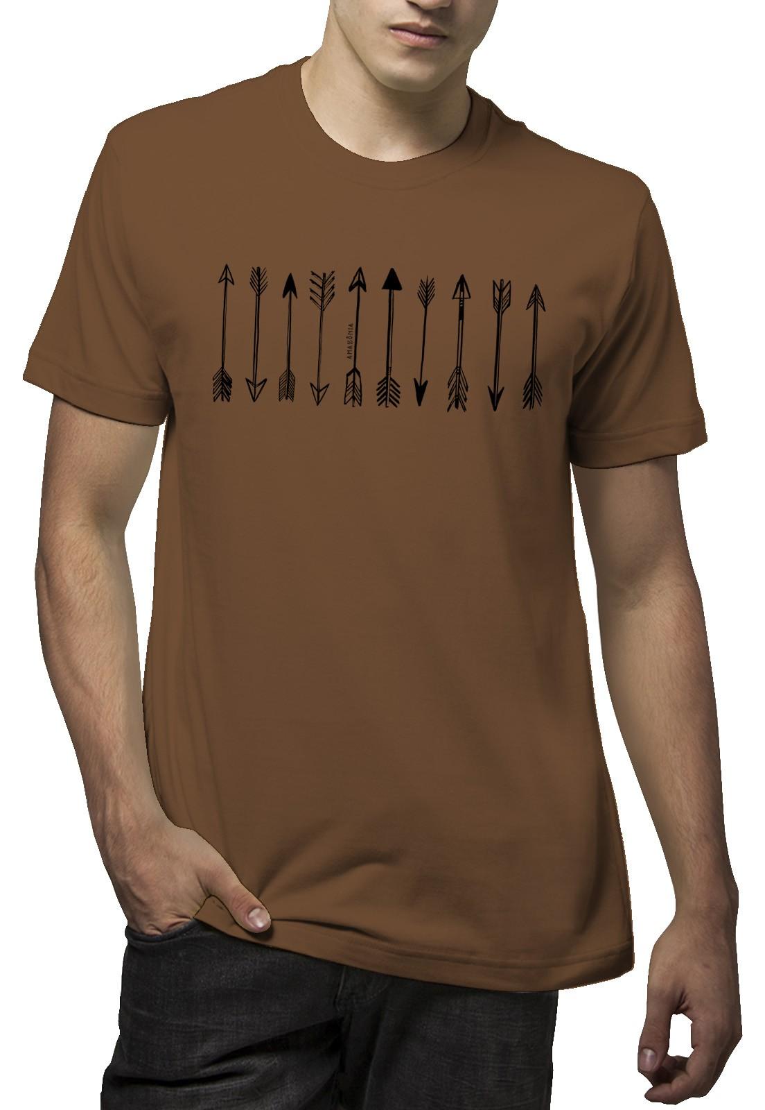 Camiseta Amazônia Arte Flechas - Marrom