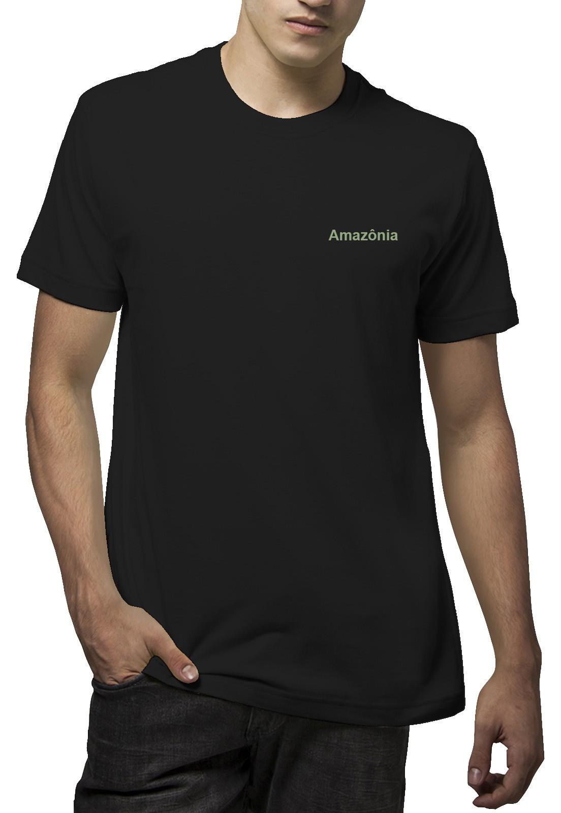 Camiseta Amazônia Árvore Aquarela - Preto