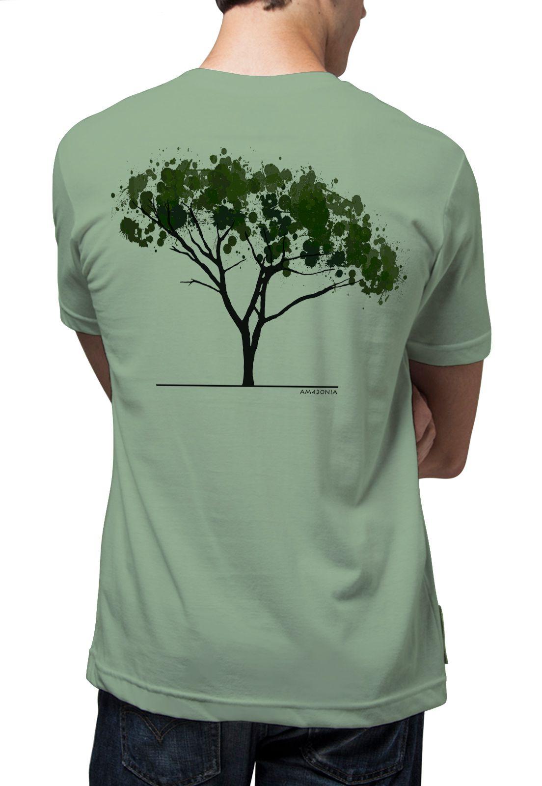 Camiseta Amazônia Árvore Aquarela - Verde
