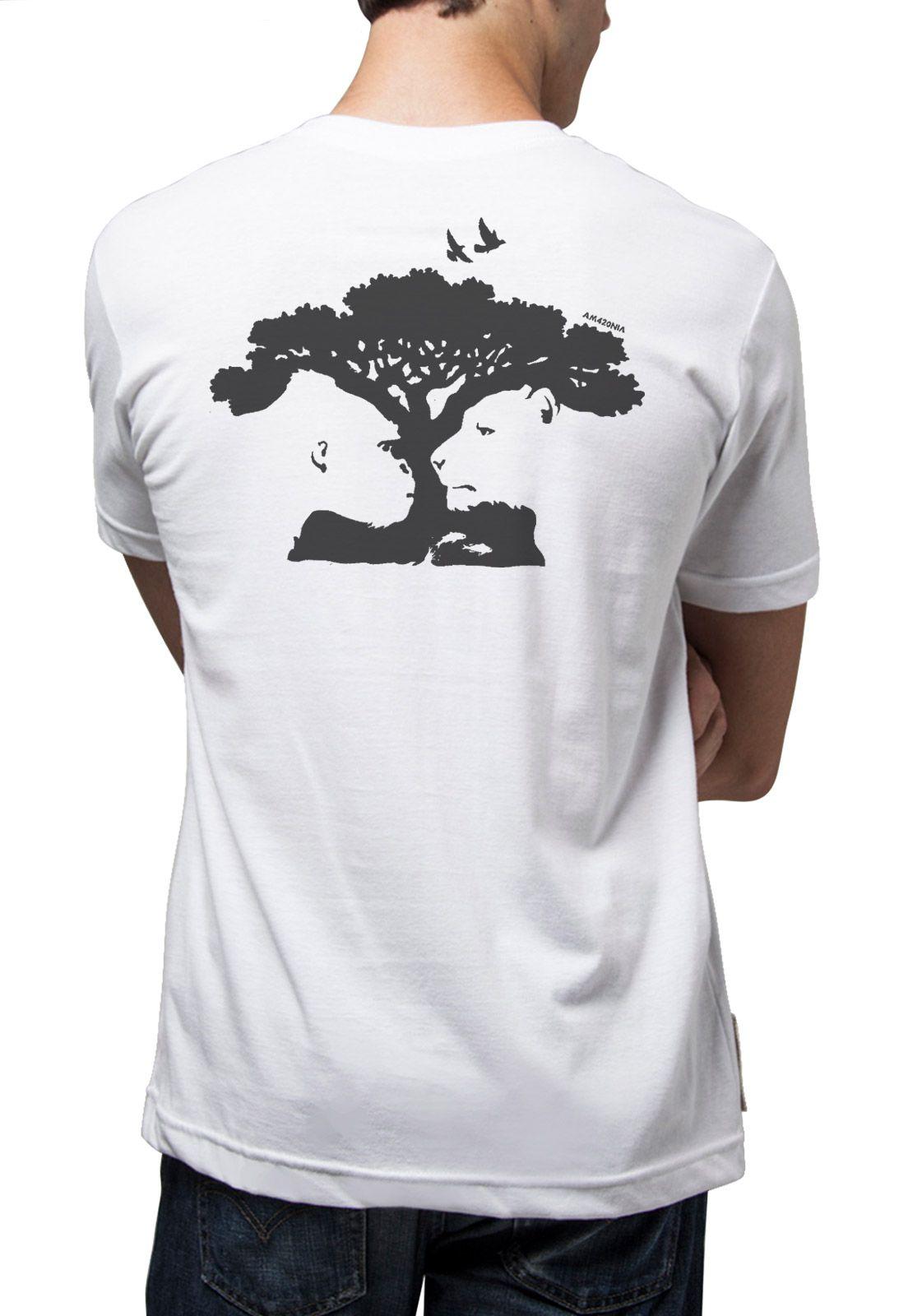 Camiseta Amazônia Árvore Bichos - Branco