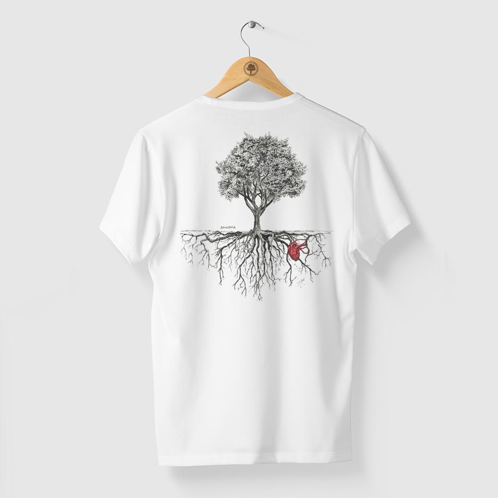 Camiseta Amazônia Árvore Coração da Natureza - Branco